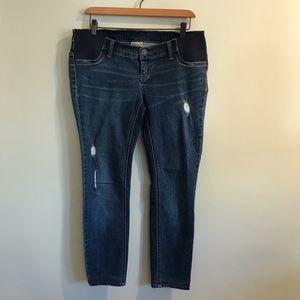 Indigo Blue Maternity Jeans Skinny Distressed M